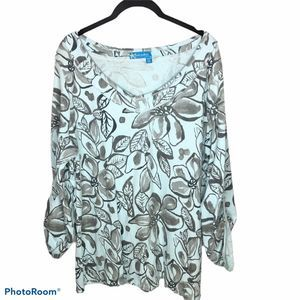 Fresh Produce V Neck Floral Leaf Print Top…